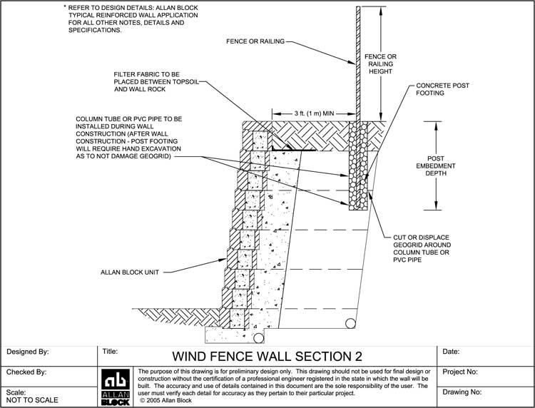 railing option 2 - Segmental Retaining Wall Design 2